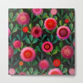 Bright Blooms Hand-Print Floral - Dark Metal Print