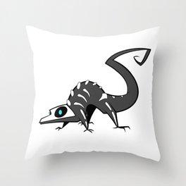 Spooky Skelelizard Throw Pillow