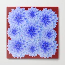 BLUE WHITE DAHLIA FLOWERS IN CHOCOLATE BROWN Metal Print