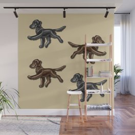 Flat Coated Retrievers Black and Liver Wall Mural