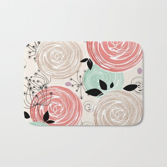 Retro . Abstract floral pattern. f Bath Mat