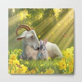 Goat and Bunny Metal Print