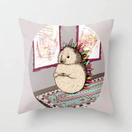 Hedgehog Artist Throw Pillow