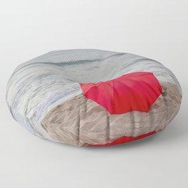 Red Umbrella lying at the beach III Floor Pillow