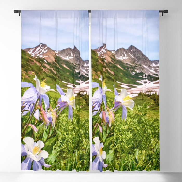 HIGH COUNTRY WILDFLOWERS COLORADO COLUMBINE MOUNTAIN FLOWER Blackout Curtain