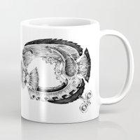 clockwork Mugs featuring clockwork fish by vasodelirium