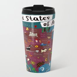 Map of USA Metal Travel Mug