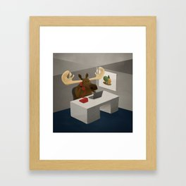 Maurice, the moose who wanted to work in an office Framed Art Print