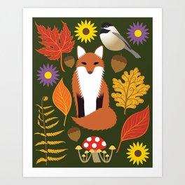 Fox, Autumn Woodland Leaf Print Art Print