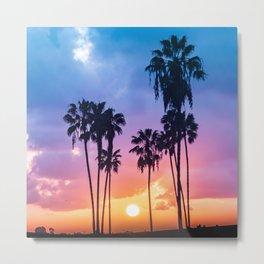 Rainbow Palm Trees Sunset Metal Print