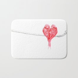 Red Heart Birds Love Bath Mat