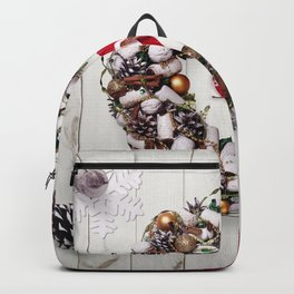Photo Christmas Heart Wreath Snowflakes Santa Clau Backpack