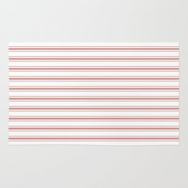Large Camellia Pink and White Mattress Ticking Stripes Rug