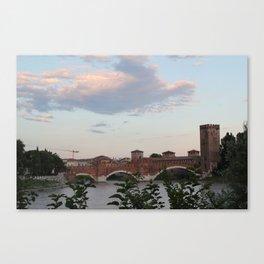 By the Bridge, Verona Canvas Print