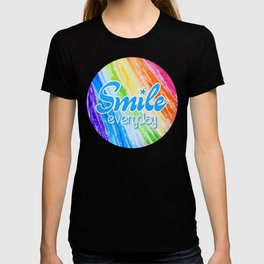 Smile Everyday, Happy sticker, Cute sticker, crayon colors, blue version T-shirt
