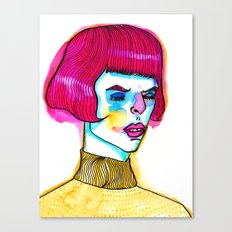 pink hair yellow sweater Canvas Print