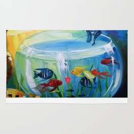 Catching fish in the tank Rug