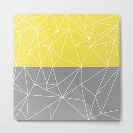 Mozaik Gray Yellow Metal Print