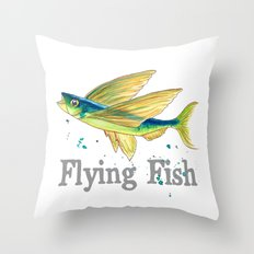 F is for Flying Fish Throw Pillow