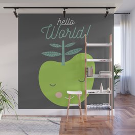 hello world green apple illustration Wall Mural