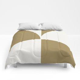 Diamond Series Round Checkers White on Gold Comforters