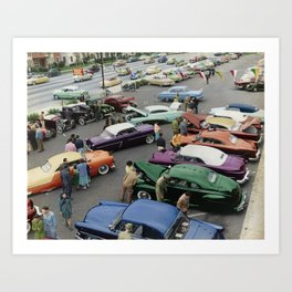 1954 Parkin Lot Custom Car Show Art Print