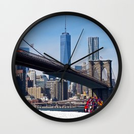 Winter NY Skyline Views Wall Clock