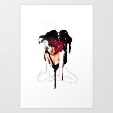 Ringu Woman Illustration in Mixed Digital Media Art Print