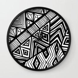 Original Geometric ink-pen print Wall Clock