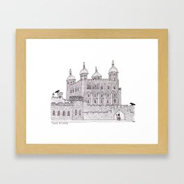 Tower of London- original ink and watercolour illustration Framed Art Print
