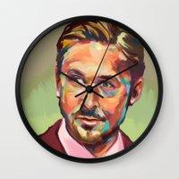 ryan gosling Wall Clocks featuring Hey, girl. It's Ryan Gosling by Cori Redford
