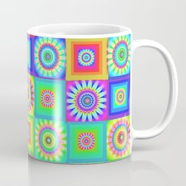 Multicoloured Patchwork Flowers Hippy Style Coffee Mug