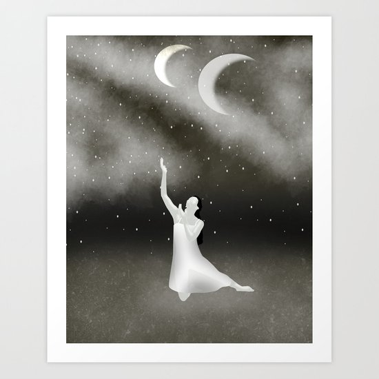 Worshipping the Moon Art Print