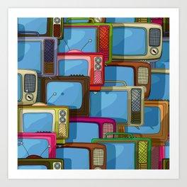 Tv set pattern Art Print