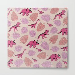 Dinosaur jungle illustration pattern hot pink girls Metal Print