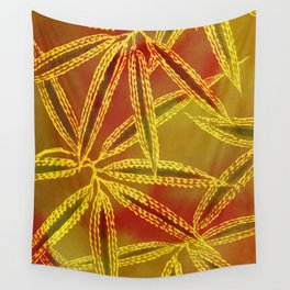 Red Yellow Abstract Leaf Wall Tapestry