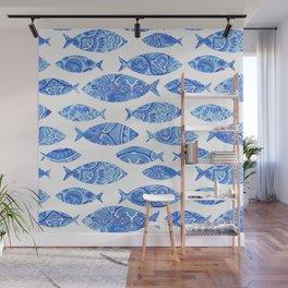 Folk watercolor fish pattern Wall Mural