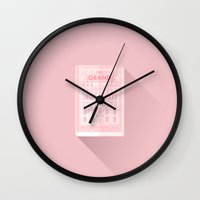 the grand budapest hotel Wall Clocks featuring The Grand Budapest Hotel · Once upon a time... by Lorena G