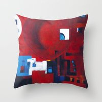 ballon Throw Pillows featuring Red ballon by Nathalie Gribinski