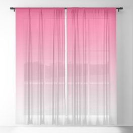 Modern bright simple neon pink white color ombre gradient Sheer Curtain
