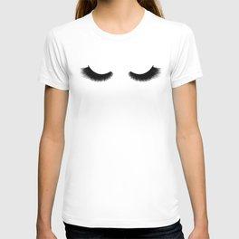 black and white eyelashes T-shirt