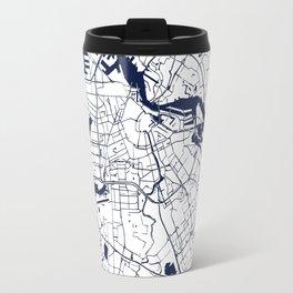 Amsterdam White on Navy Street Map Travel Mug