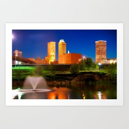 Vibrant Tulsa Skyline Art Print