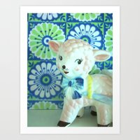 lamb Art Prints featuring  Lamb by Vintage  Cuteness