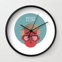 woody allen Wall Clocks featuring WOODY ALLEN by Gerardo Lisanti