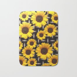 Bright Yellow Sunflower and Industrial Grid Pattern Bath Mat