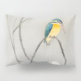Kingfisher sitting on a lotus flower - Vintage Japanese Woodblock Print Art Pillow Sham