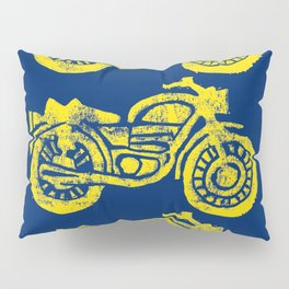 Motorcycles Linocut Yellow Gold Navy Blue Pillow Sham