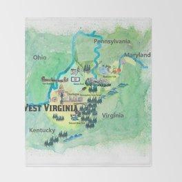 USA West Virginia State Travel Poster Map mit touristischen Highlights Throw Blanket