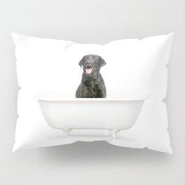 Black Lab in Vintage Bathtub Pillow Sham